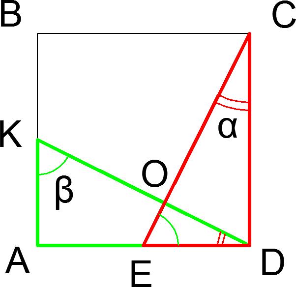 В квадрате ABCD точки К и Е — середины сторон АВ и AD соответственно. Доказать, что КD перпендикулярна CE.