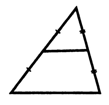 Средняя линия треугольника равна половине основания