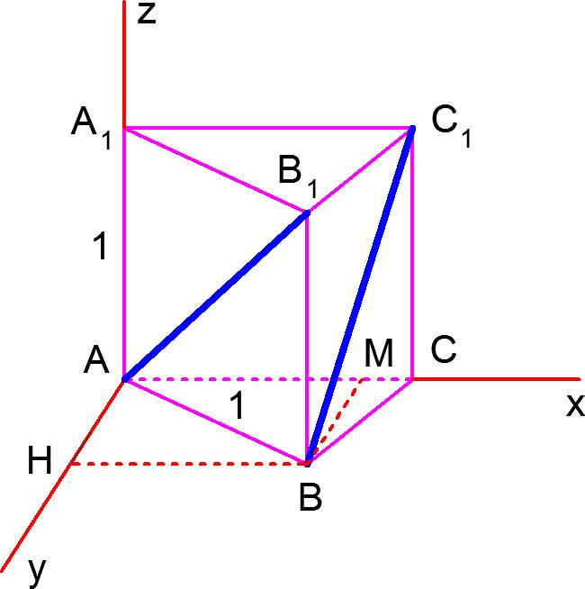 Правильная треугольная призма в системе координат