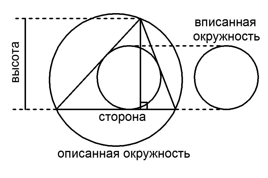 Треугольник с вписанной, описанной окружностями и высотой
