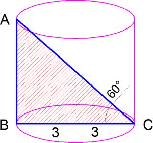 Цилиндр с осевым сечением задача по стереометрии