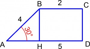 Прямоугольная трапеция с высотой. Задача 8 по геометрии из ГИА