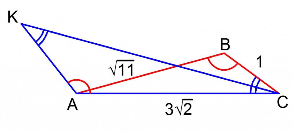 Рисунок к задаче 23 по геометрии с подобными треугольниками из ГИА по математике