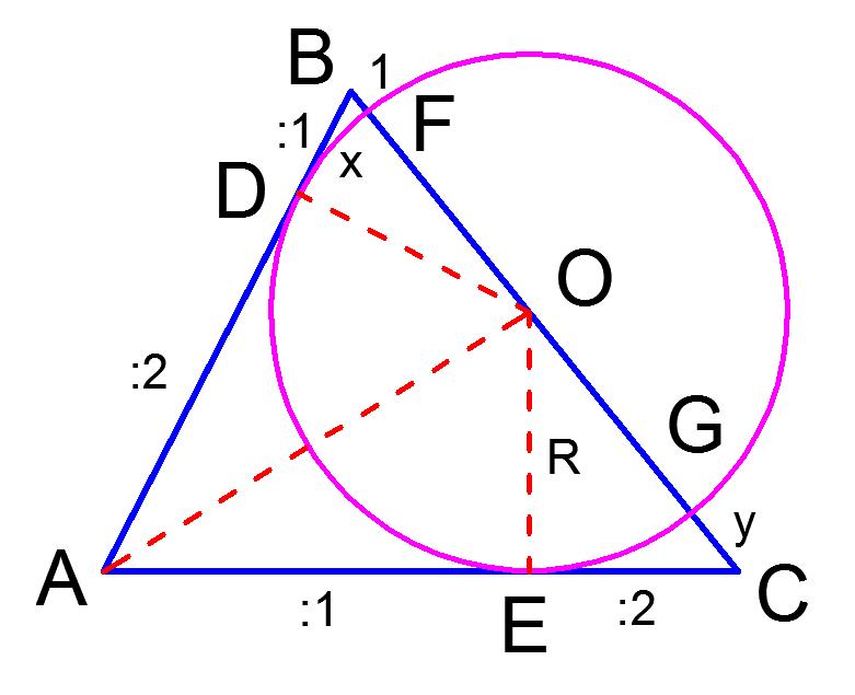Рисунок к задаче по планиметрии из вступительного экзамена по математике в МГУ 2012