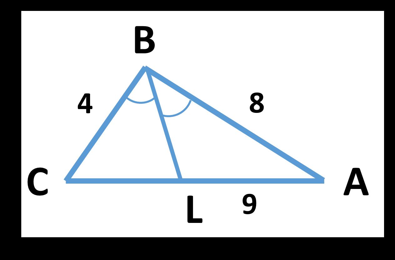 Нахождение биссектрисы треугольника через длину сторон