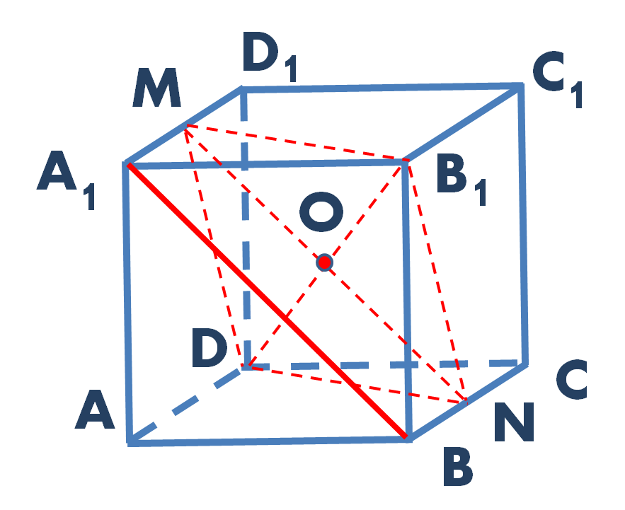 Куб с требуемыми дополнительными построениями