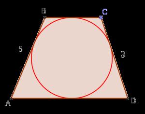 Окружность вписана в трапецию с боковыми сторонами 5 и 3