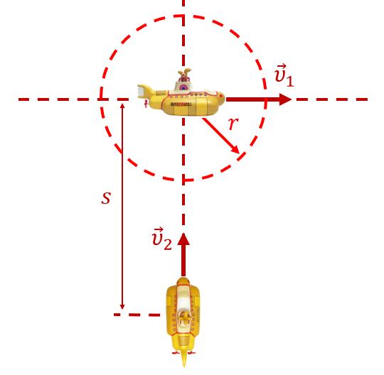 Рисунок к задаче про подводные лодки (на относительность движения)