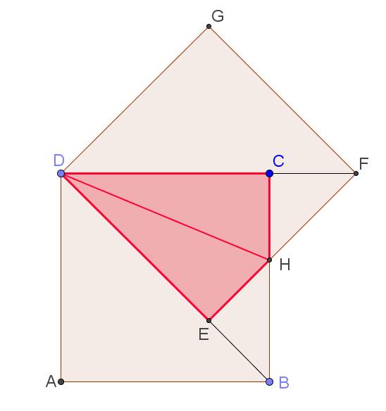 Квадрат повернули на 45 градусов вокруг его вершины