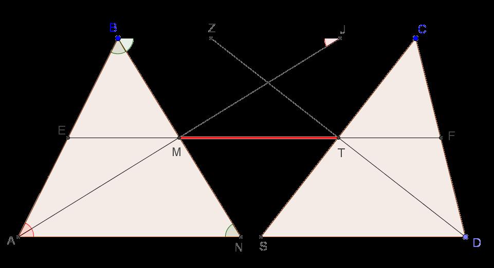 Длина отрезка, образованного точками пересечения биссектрис внутренних углов трапеции