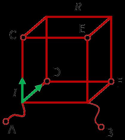 Проволочный куб, подключенный к прилежащим вершинам одной грани