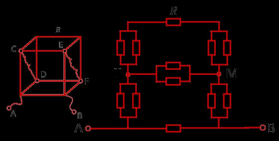 Эквивалентная схема для расчета сопротивления куба, включенного в цепи за прилежащие углы одной грани
