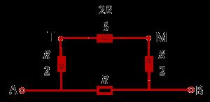 Упрощённая эквивалентная схема подключения для расчёта сопротивления куба между смежными вершинами одной грани