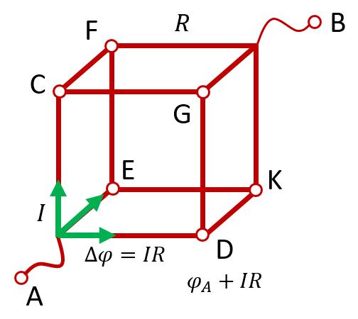 Сопротивление куба, подключенного в электрическую цепь за диаметрально противоположные вершины
