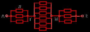 Эквивалентная схема подключения проволочного куба за противоположные вершины