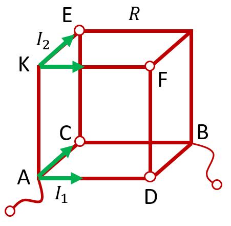 Проволочный куб с отводящими проводами от противоположных углов одной грани