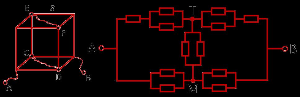 Эквивалентная схема проволочного куба, подключенного к источнику за противоположные углы одной грани