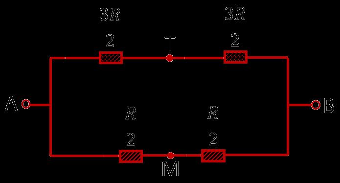 Упрощённая эквивалентная схема проволочного куба, подключенного к противоположным углам одной грани