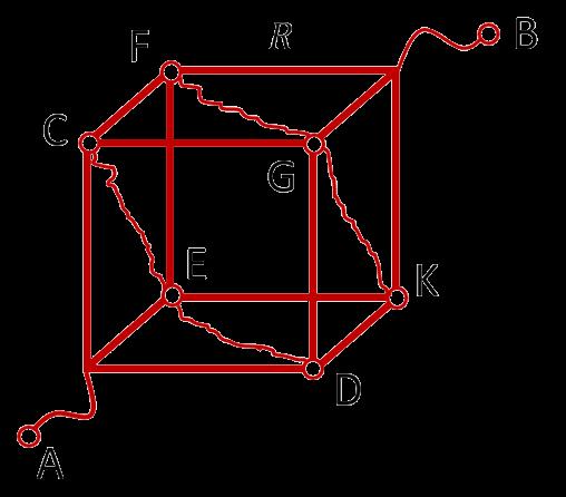 Соединяем точки с одинаковым потенциалом в кубе, подключённом в электрическую цепь за диаметрально противоположные углы