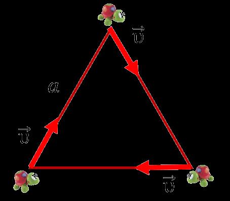 Три черепахи в вершинах равностороннего треугольника начинают двигаться друг к другу