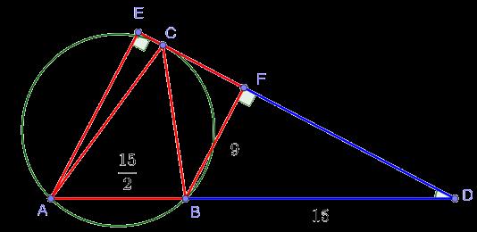 Площадь трапеции, образованной перпендикулярами из точек A и B, стороной AB и отрезком касательной