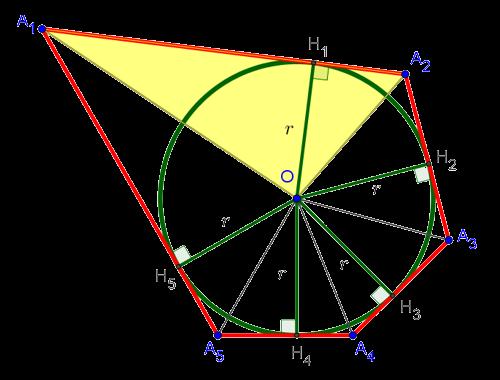 Описанный многоугольник, разрезанный на треугольники