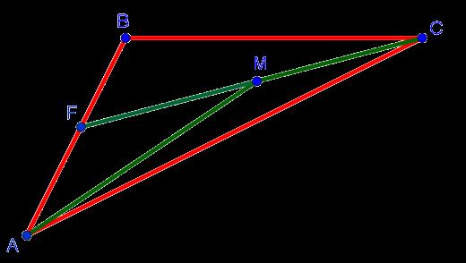 Рисунок к доказательству того, что сумма расстояний от любой точки внутри треугольника до двух его вершин меньше суммы сторон этого треугольника, опирающихся на эти вершины