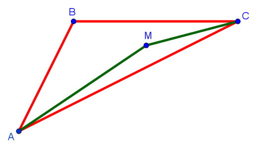 Сумма расстояний от точки внутри треугольника до его вершин меньше суммы двух соседних сторон треугольника с концами в этих вершинах