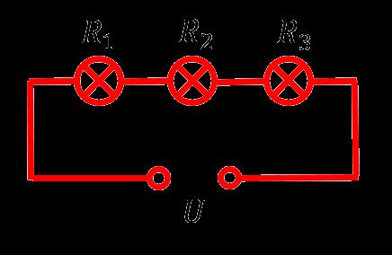 Три лампочки, соединённые последовательно, из задачи 26 ОГЭ по физике
