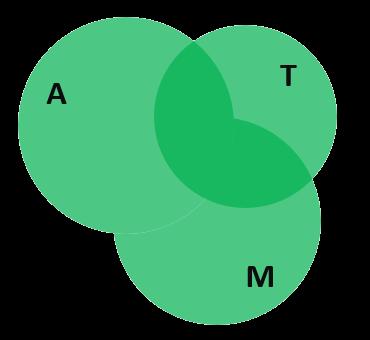 Диаграмма Эйлера с тремя пересекающимися множествами из решения задачи про пассажиров на общественном транспорте