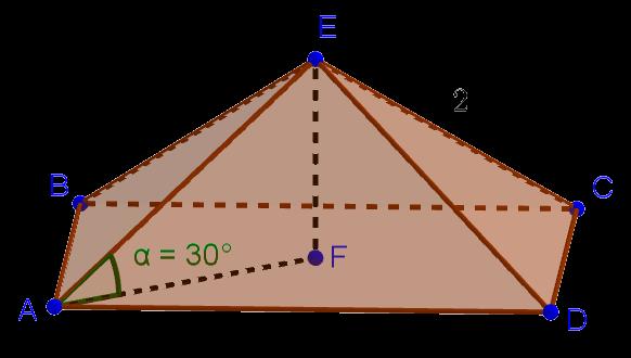 Правильная четырёхугольная пирамида с боковым ребром, наклонённым под угол 30 градусов к основанию