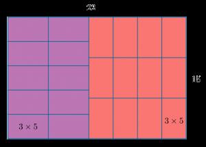 Способ разбиения прямоугольника 22x15 на прямоугольники 3x5 из задачи вступительного экзамена по математике в 5 класс школы 1329 города Москвы