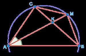 Треугольник, вписанный в окружность, из геометрической задачи второй части комплексного теста по математике в лицей ВШЭ