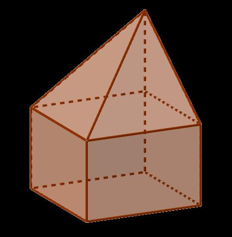 Ещё один вариант сочленения четырёхугольной пирамиды с параллелепипедом так, чтобы у них совпал основания