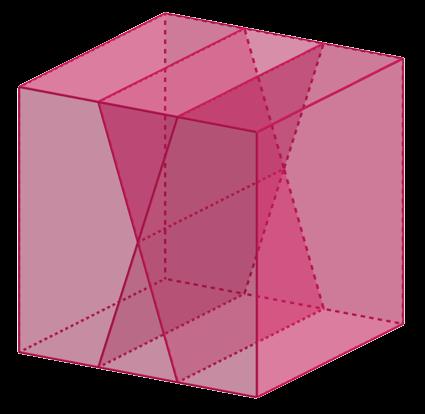 Разделение куба на 4 части двумя разрезами