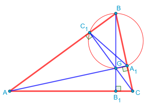 Окружность, описанная около треугольника, образованного основаниями высот другого треугольника, проведёнными из двух вершин этого треугольника, и его третей вершиной.